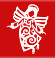 white christmas flying angel on the red background vector image