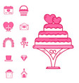 wedding outline married engagement icons vector image
