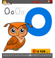 letter o with cartoon owl bird vector image