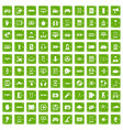 100 gadget icons set grunge green vector image vector image