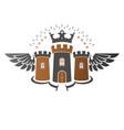 ancient citadel emblem heraldic design element vector image