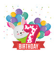 birthday card with candle number seven vector image