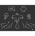Blackboard line art business icons vector image vector image