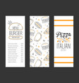 burger and pizza menu premium template tasty fast vector image vector image