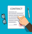 businessman points a finger at a paper contract vector image
