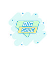 cartoon big sale banner icon in comic style badge vector image