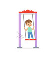 cartoon little boy standing on swing kid playing vector image vector image
