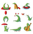 cartoon set of humanized crocodiles in vector image vector image