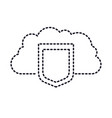 cloud storage data protection shield icon in vector image