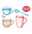 collection hand drawn cups vector image