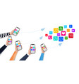 concept for mobile apps with media icons and vector image vector image