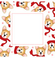 corgi with red scarf on white banner card vector image vector image