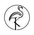 crane heron initial k logo creative concept vector image vector image
