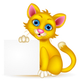Cute cat cartoon with blank sign vector image vector image