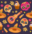 day dead seamless pattern with sugar vector image