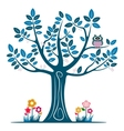 Decorative blue tree silhouette vector image vector image