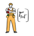 doodle yellow mechanic with a bag of equipment vector image vector image
