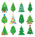 flat paper christmas tree winter holidays trees vector image vector image