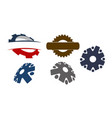 gear template icon set vector image vector image