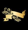 gold vintage ribbon banner with leaves and flowers vector image vector image