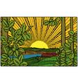 golden village sunny landscape vector image vector image