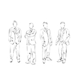 Group of men dressed in the suit vector image