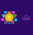happy diwali banner hindu diya flower candle vector image vector image