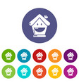 insurance house icons set color vector image