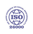 iso 26000 stamp sign - guidance on social vector image vector image