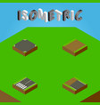 isometric road set of footpath incomplete vector image vector image