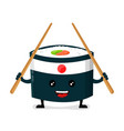 japan ninja sushi with chinese sticks vector image