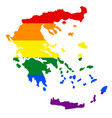 lgbt flag map of greece rainbow map of greece in vector image