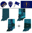 map of indiana with regions vector image vector image