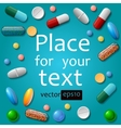 Medical pills on blue background vector image vector image