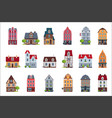 old european houses facade set colorful houses of vector image