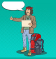 pop art hitchhiking man hipster with backpack vector image vector image
