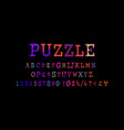 puzzle font and numbers vector image vector image