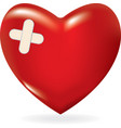 red 3d heart with crossed plaster vector image vector image