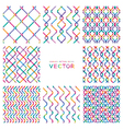 set colorful seamless patterns from smooth lines vector image vector image