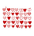 set hand drawn red doodle sketch hearts vector image