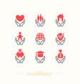 set linear icons support and care vector image vector image