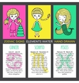 Set of 3 cards zodiac signs