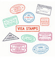 set of isolated visa passport rubber stamps vector image vector image