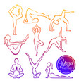 set yoga poses in line vector image