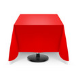 square dining table with red tablecloth and round vector image vector image