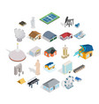 storehouse icons set isometric style vector image vector image