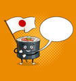sushi roll with japanese sword pop art vector image vector image