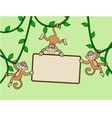 Three monkey with blank sign vector | Price: 1 Credit (USD $1)