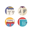 Type font pixel perfect icons set vector image