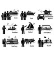 water sea transportation vehicles and people set vector image
